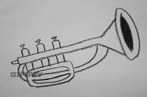 нарисовать пошагово музыкальную трубу карандашом, рисунок  музыкальной трубы, контурный рисунок,  черно-белый