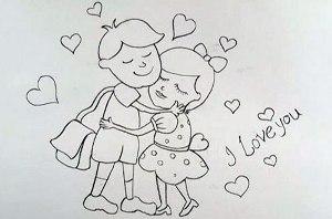 нарисовать пошагово влюбленных мальчика и девочку карандашом, рисунок  влюбленных мальчика и девочки, контурный рисунок,  черно-белый