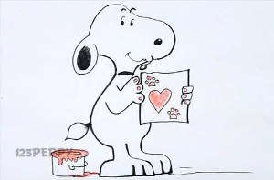 нарисовать пошагово влюблённую собаку карандашом, рисунок  влюблённой собаки, контурный рисунок,  цветной