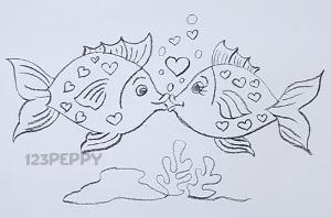 нарисовать пошагово влюблённых рыбок карандашом, рисунок  влюблённых рыбок, контурный рисунок,  черно-белый