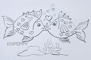 Рисунки рыбок карандашом