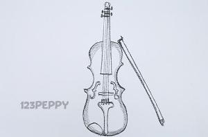 нарисовать пошагово виолончель карандашом, рисунок  виолончель, контурный рисунок,  черно-белый
