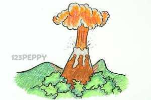 нарисовать пошагово вулкан карандашом, рисунок  вулкана, контурный рисунок,  цветной