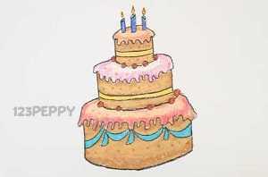 нарисовать пошагово большой, красивый торт карандашом, рисунок  большого, красивого торта, контурный рисунок,  цветной