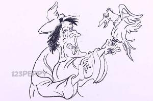 нарисовать пошагово злую ведьму карандашом, рисунок  злой ведьмы, контурный рисунок,  черно- белый
