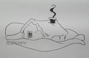 нарисовать пошагово дом в снегу карандашом, рисунок  дома в снегу, контурный рисунок,  черно- белый