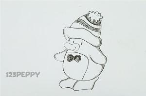 нарисовать пошагово пингвина карандашом, рисунок  пингвина, контурный рисунок,  черно - белый