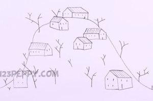 нарисовать пошагово зимнюю деревню карандашом, рисунок  зимней деревни, контурный рисунок,  черно-белый