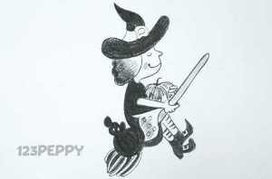нарисовать пошагово ведьму с тыквой карандашом, рисунок  ведьмы с тыквой, контурный рисунок,  черно- белый