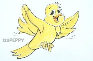 нарисовать пошагово желтую птичку карандашом, рисунок  желтую птичку, контурный рисунок,  цветной