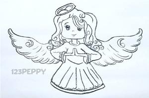 нарисовать пошагово девочку ангела карандашом, рисунок  девочки ангела, контурный рисунок,  черно-белый