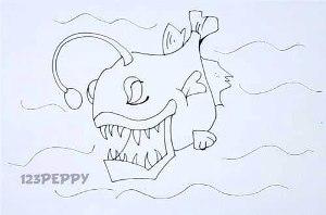 нарисовать пошагово злую рыбку карандашом, рисунок  злой рыбки, контурный рисунок,  черно-белый