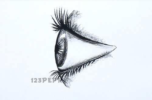 нарисовать пошагово глаз карандашом, рисунок  глаза человека, контурный рисунок,  черно- белый