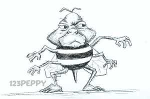 нарисовать пошагово старую пчелу карандашом, рисунок  старой пчелы, контурный рисунок,  черно - белый