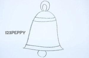 нарисовать пошагово колокольчик карандашом, рисунок  колокольчика, контурный рисунок,  черно-белый