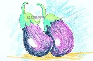 нарисовать пошагово баклажаны карандашом, рисунок  баклажана, контурный рисунок,  цветной