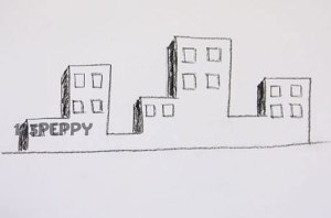 нарисовать пошагово здания карандашом, рисунок  здания, нескольких зданий, контурный рисунок,  черно-белый