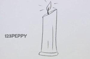 нарисовать пошагово простую свечу карандашом, рисунок  простой свечи, контурный рисунок,  черно-белый