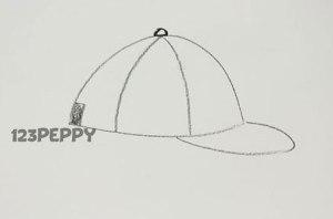 нарисовать пошагово кепку карандашом, рисунок  кепки, контурный рисунок,  черно-белый