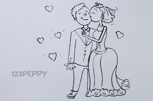 нарисовать пошагово жениха и невесту карандашом, рисунок  жениха и невесты, контурный рисунок,  черно-белый