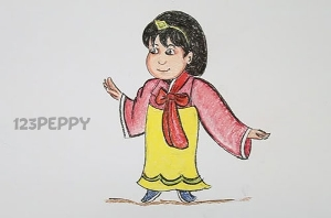 нарисовать пошагово девушку-японку карандашом, рисунок  девушки-японки, контурный рисунок,  цветной