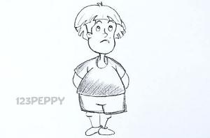 нарисовать пошагово мальчика в футболке карандашом, рисунок  мальчика в футболке, контурный рисунок,  черно-белый