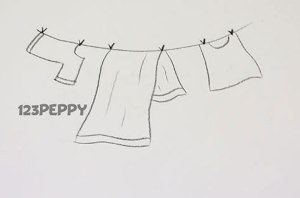 нарисовать пошагово белье на веревке карандашом, рисунок  белья на веревке, полотенца, контурный рисунок,  черно-белый