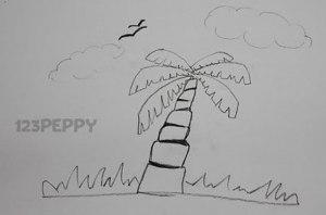 нарисовать пошагово кокосовую пальму карандашом, рисунок  кокосовой пальмы, контурный рисунок,  черно- белый