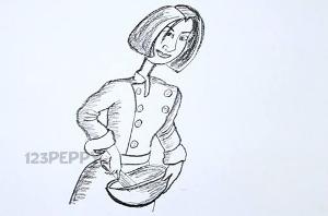 нарисовать пошагово девушку-повара карандашом, рисунок  девушки - повара, контурный рисунок,  черно-белый