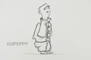 нарисовать пошагово мальчика в куртке карандашом, рисунок  мальчика в куртке, контурный рисунок,  черно-белый