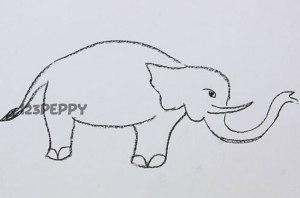 нарисовать пошагово слона карандашом, рисунок  слона, контурный рисунок,  черно - белый