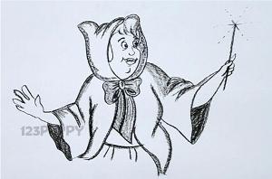 нарисовать пошагово крестную фею карандашом, рисунок  крестной феи, контурный рисунок,  черно-белый