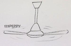 нарисовать пошагово вентилятор карандашом, рисунок  вентилятора, контурный рисунок,  черно-белый