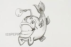 нарисовать пошагово улыбающуюся рыбку карандашом, рисунок  улыбающейся рыбки, контурный рисунок,  черно-белый