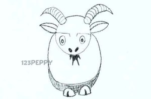 нарисовать пошагово забавного козла карандашом, рисунок  забавного козла, контурный рисунок,  черно- белый