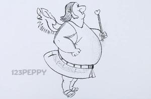 нарисовать пошагово толстого ангела карандашом, рисунок  толстого ангела, контурный рисунок,  черно-белый