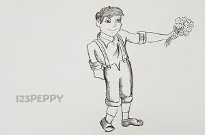 нарисовать пошагово мальчика с цветами карандашом, рисунок  мальчика с цветами, контурный рисунок,  черно-белый