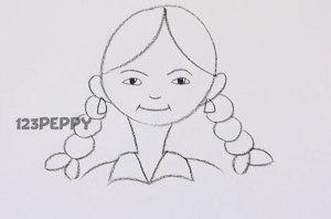 нарисовать пошагово девочку с косичками карандашом, рисунок  девочки с косичками, контурный рисунок,  черно-белый