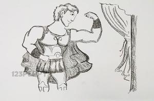 нарисовать пошагово Геркулеса карандашом, рисунок  Геркулеса, контурный рисунок,  черно-белый