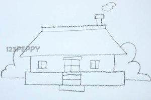 нарисовать пошагово дом с трубой карандашом, рисунок  дома с трубой, контурный рисунок,  черно-белый