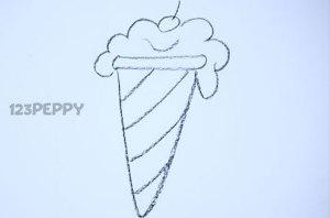 нарисовать пошагово мороженое карандашом, рисунок  мороженого в вафельной трубочке, контурный рисунок,  черно-белый