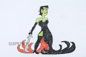 нарисовать пошагово женщину с мечом карандашом, рисунок  женщины с мечом, контурный рисунок,  цветной