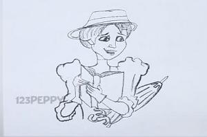 нарисовать пошагово женщину с книгой карандашом, рисунок  женщины с книгой, контурный рисунок,  черно-белый