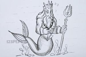 нарисовать пошагово Нептуна карандашом, рисунок  Нептуна, контурный рисунок,  черно - белый