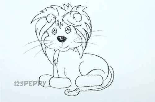 нарисовать пошагово львенка карандашом, рисунок  львенка, контурный рисунок,  черно- белый