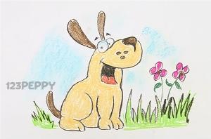 нарисовать пошагово гавкающую собаку карандашом, рисунок  гавкающей собаки, контурный рисунок,  цветной