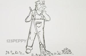 нарисовать пошагово дворника с метлой карандашом, рисунок  дворника с метлой, контурный рисунок,  черно-белый