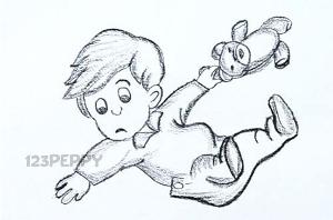 нарисовать пошагово мальчика с игрушечным мишкой карандашом, рисунок  мальчика с игрушечным мишкой, контурный рисунок,  черно-белый