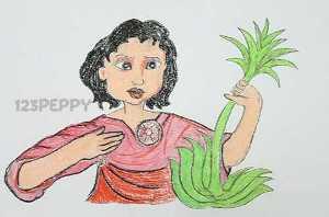 нарисовать пошагово женщину с растением карандашом, рисунок  женщины с растением, контурный рисунок,  цветной