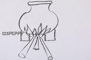 нарисовать пошагово горшок на огне карандашом, рисунок  горшка на огне, контурный рисунок,  черно-белый